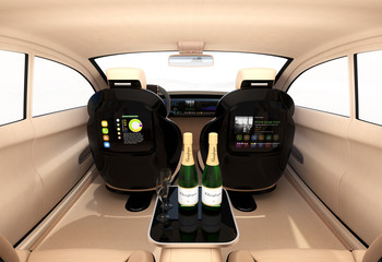 Autonomous car interior concept. Luxury interior serve cool drink service. Seat backrest equip with LCD monitor for multimedia entertainment. 3D rendering image.