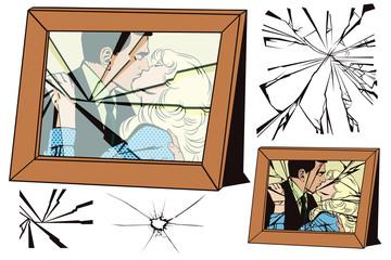 Broken frame and effects of broken glass.