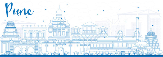 Outline Pune Skyline with Blue Buildings.