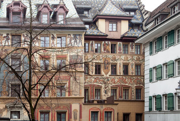 Amazing murals (wall paintings) downtown Luzern, Switzerland