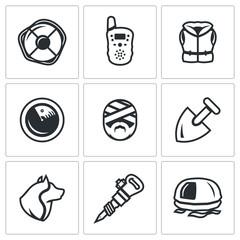 Vector Set of Search and Rescue service Icons. Lifebuoy, Radio, Life Jacket, Radar, Victim, Shovel, Dog, Jackhammer, inflatable Raft.