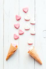 candies in ice cream cone