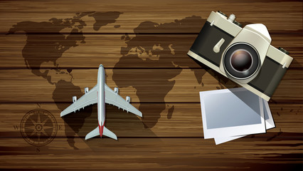 Vector plane model with vintage camera and world map pettern on