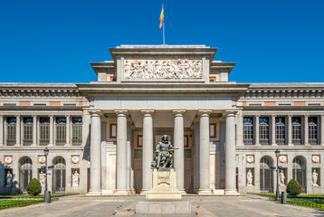 Entrance to Prado museum with Velazquez statue of Madrid