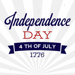 cRetro Independence Day background with texture. Vector illustration for posters, flyers, decoration in colors of USA flag. Vintage design, text with rough edges. 4th of July celebration