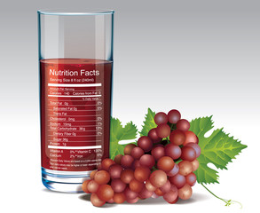 Vector nutrition facts of red grape juice