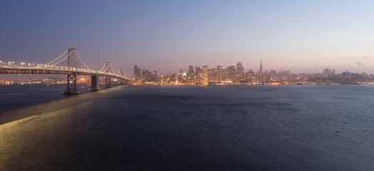 Bay Bridge Crossing San Francisco Skyline Pacific West Coast