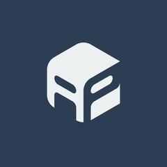 AP Logo.. Vector Graphic Business Branding Letter Element Illustration. Cube Negative Space Design. Dark Background