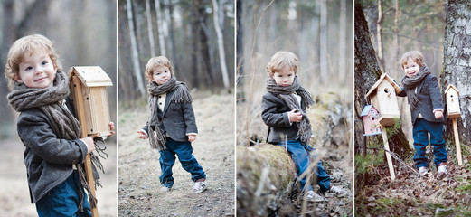 Collage. A boy with blond and curly hair in the woods. Birdhouse.