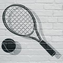 Art urbain; raquette et balle de tennis