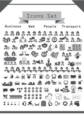 Collection icons sets on gray ; vector illustration