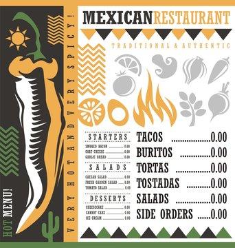 Mexican restaurant menu design template