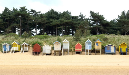 Beach huts near Wells-next-the-Sea in Norfolk, England
