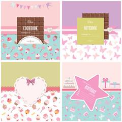 Cute templates for birthday, scrapbook, baby shower design.