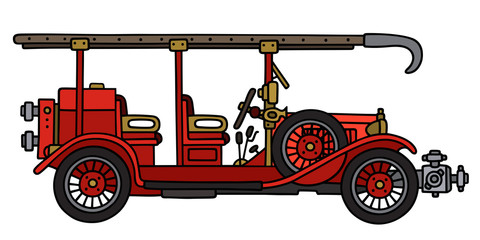 Vintage fire truck / Hand drawing, vector illustration