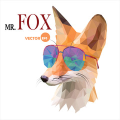 Fox man, Mr. Fox in sunglasses, urban city style, hipster look fashion animal portrait close-up on the white background. Graphic in the low poly style for cartoons hero, book, cards, funny things