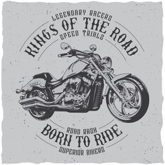 Kings of the road, born to ride motorcycle label design for t-shirt, posters, greeting cards etc.