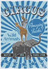 Circus vintage poster with hand drawn animals - elephant, giraffe, zebra, kangaroo and dog.