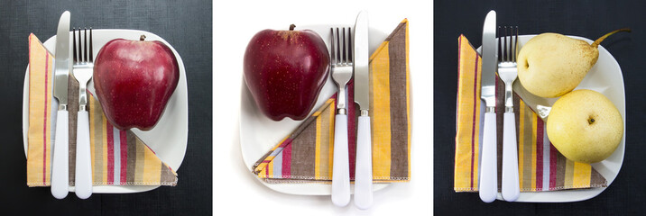 Red and yellow apples on white plates, set. Vitamin, low-calorie, vegetarian and special diet breakfasts and healthy snacks. Apples fruits
