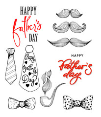 Happy Fathers day greeting card with a bow . Hand drawn illustration on the theme of Happy Fathers day. Happy Fathers day greeting card Concept. Vector illustration