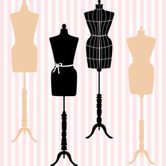 Mannequin Silhouette. Fashion, Dress Form. Tailor's Dummy, Shabby Chic Collection.