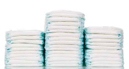 Stack of diapers isolated on  white background.