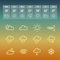 Weather forcast line icons on hot.
