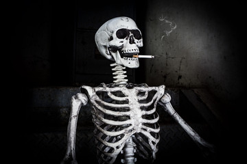 "Still life Smoking human skeleton with cigarette, people smoke cigarette look like trying to commit suicide, In the day "" World No Tobacco Day"" please quit or stop smoke for good health."