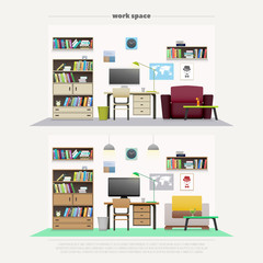 set of contemporary work places, wooden furniture and professional tools. vector, flat style office interior design. elegant workspace illustration. lifestyle and working concept, apartment decoration