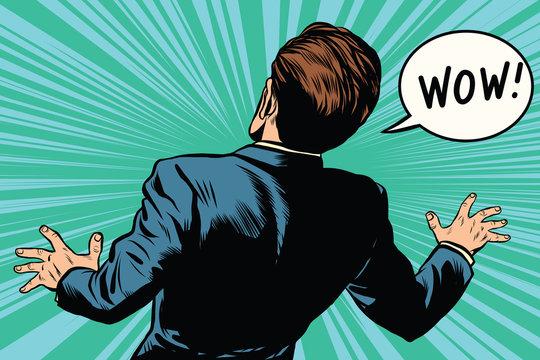 wow reaction man fear retro comic pop art