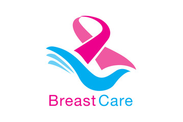 Breast care symbol meaning to breast cancer awareness. Pink ribbon on blue hand. Stop cancer.
