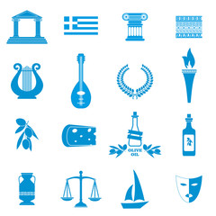 Traditional symbols of Greece. Monochrome icons.Greece Icon Grap