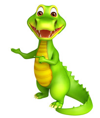cute Aligator cartoon character with pointing blank space