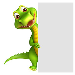 Aligator cartoon character with white board