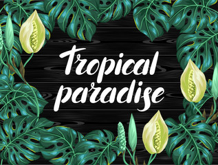 Background with monstera leaves. Decorative image of tropical foliage and flower. Design for advertising booklets, banners, flayers, cards