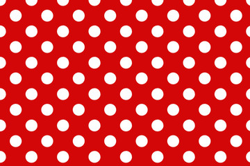 Red polka dot background.