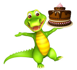 cute Aligator cartoon character  with cake