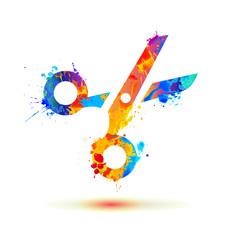 Scissors of splash paint