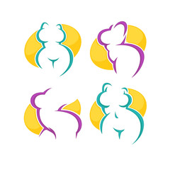 fat lady, beauty, fit and plastic surgery symbols and emblems, v