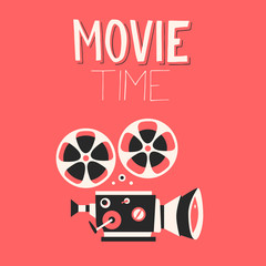 Movie time poster. Cartoon vector illustration. Cinema motion picture