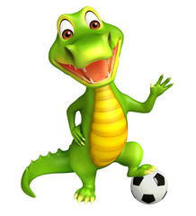 cute Aligator cartoon character  with football
