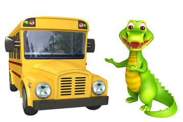 cute Aligator cartoon character with school van