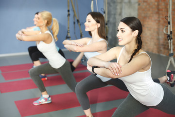 Pretty sporty women are training with equipment
