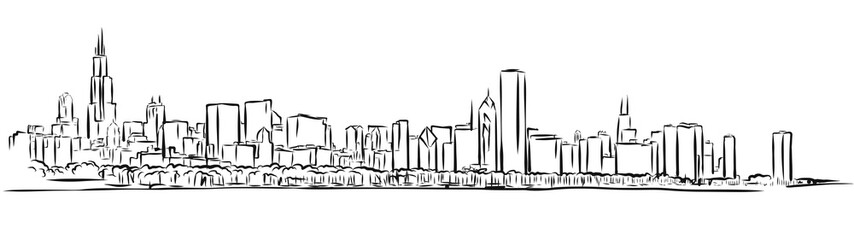 Chicago Skyline Outline Sketch