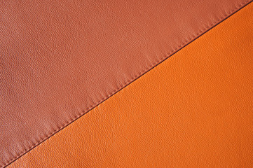 Samples of leather with stitching