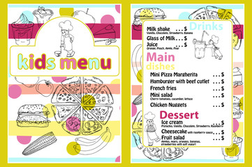 Cute colorful kids meal menu vector template with funny cartoon kitchen boy. Different types of dishes on a hand drawn grocery background