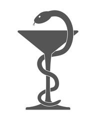 Pharmacy icon. Caduceus symbol bowl.