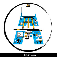 Vector Letter A is Art icons set