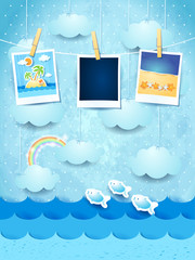 Summer background with photo frames