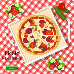 Cool graphic vector concept of picnic menu ideas for summer vacation. White checked cloth with pizza, sandwiches and vegetables. Flat style vector illustration.